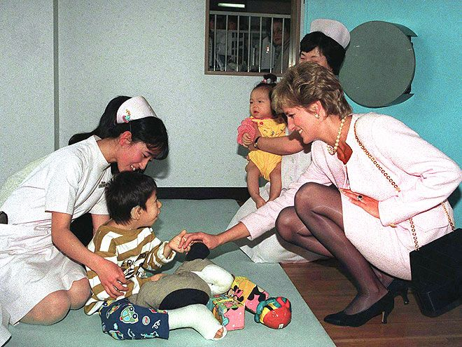 "TokyoA month after the Jan. 17, 1995, earthquake that devastated Kobe, Japan, the Princess returned to the country, flying into Tokyo and greeting children at the National Children's Hospital. ""I know that I can give love for a minute, for half an hour, for a day, for a month, but I can give,"" Diana once said of her charitable missions. ""I'm very happy to do that and I want to do that."""