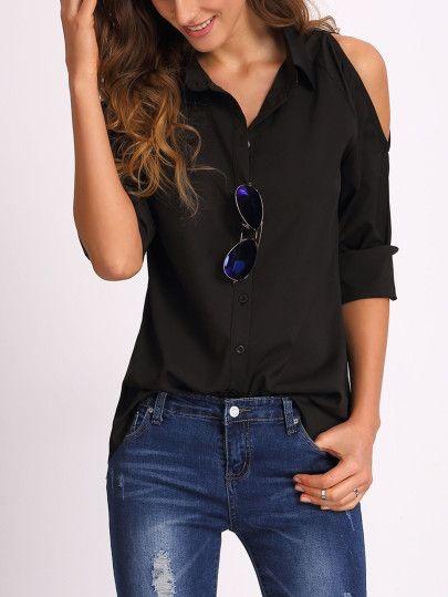 Schulterfreie Bluse langarm mit Knöpfen -schwarz