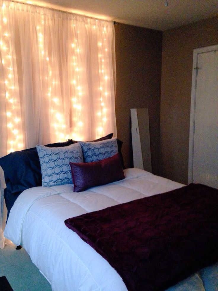 Diy headboard with white christmas lights behind sheer curtains doing it myself pinterest for White christmas lights bedroom