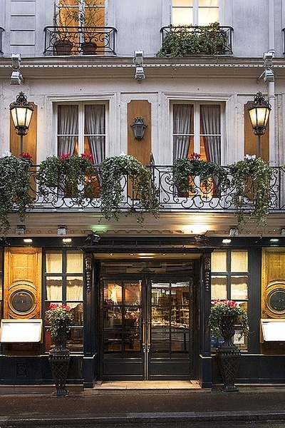 Beautiful ironwork balconies at Le Procope, Paris' oldest cafe.