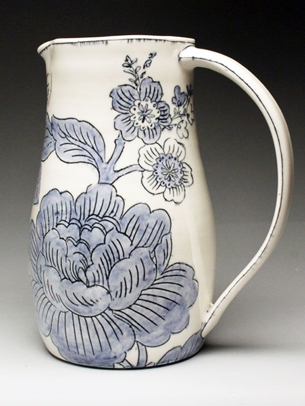 Molly Hatch Floral Pattern Porcelain Pitcher at MudFire Gallery