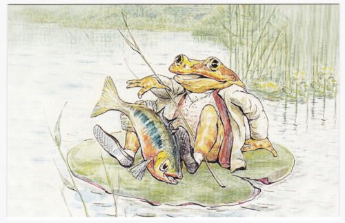 Postcard - Beatrix Potter - The Tale of Mr. Jeremy Fisher - Frog and Stickleback