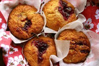 Raspberry Jam-drop Cornmeal Muffins