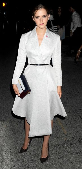 In a Dior coat and dress after her 'HeForShe' speech at the United Nations in New York in 2014. See all of Emma Watson's best looks.