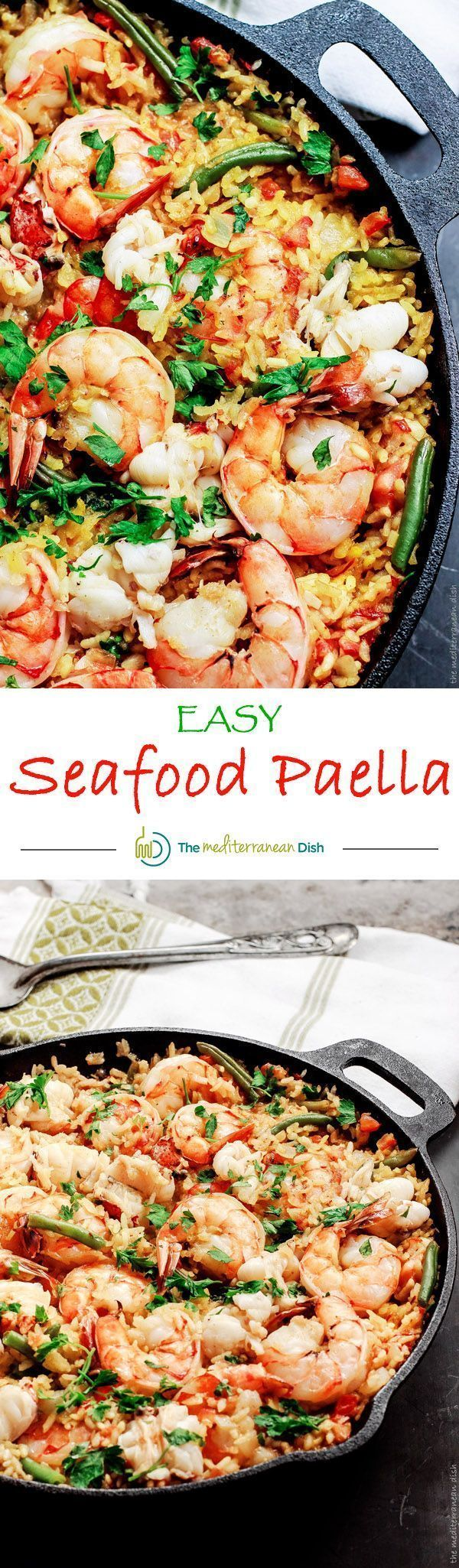 Easy Seafood Paella Recipe   The Mediterranean Dish. Recipe comes with step-by-step photo tutorial to guide your cooking! Love this shrimp and lobster nestled in a bed of saffron rice! A must try from @themeddish