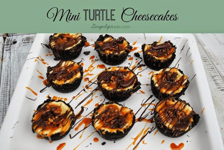 Need something decadent for New Year's Eve? These individual portion sized turtle cheesecakes are To. Die. For. Cheesecake, chocolate, caramel, and pecans, I'm loving them! But being in individual portion sizes keeps my sweet tooth in check. I found the original recipe for this cheesecake on the inside of a box of cream cheese years ago. You can still find in on the Kraft website