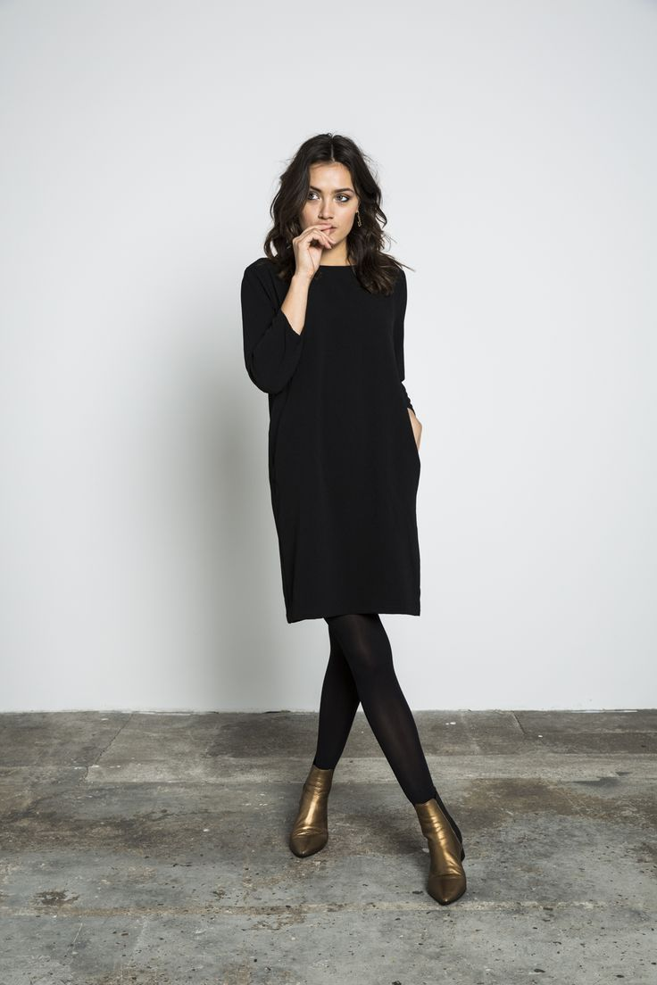 Black With Boots Dresses With Leggings Fashion Style [ 1104 x 736 Pixel ]