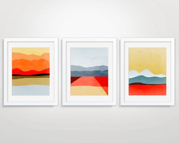 Set of 3 Mid Century Modern Art Prints, Abstract Landscape Art, Minimalist Posters, Wall Art - Red, Orange, Yellow and Grey