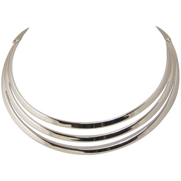 Silverado Silver Tone Choker Necklace ($39) liked on