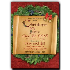 Christmas Party Invitation  Paper Scroll on a Wreath at a Red Background