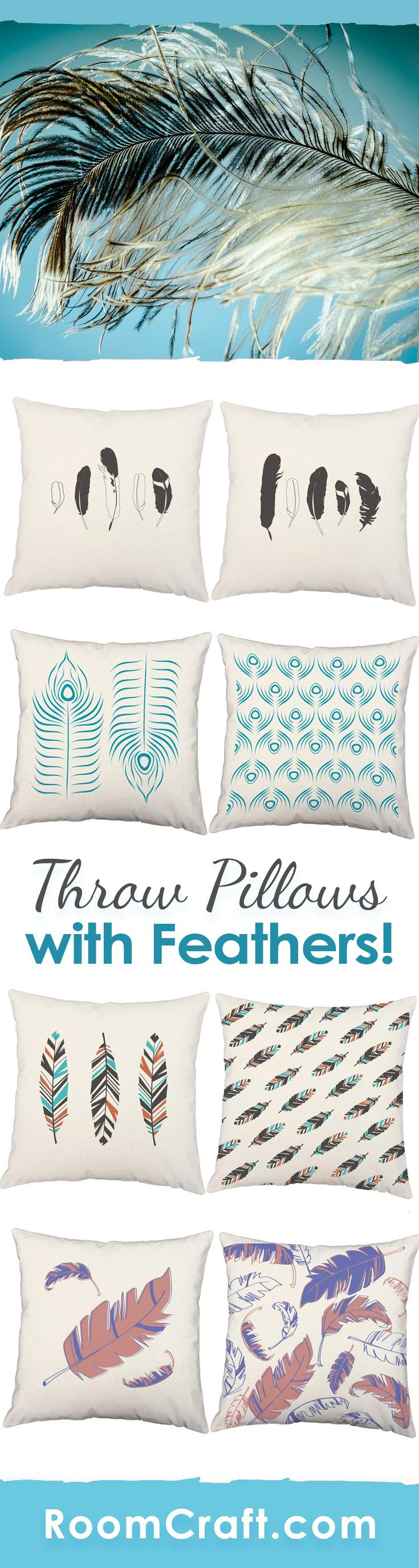 """""""If I were a bird I would fly wild and free."""" Soar high with these beautiful feather throw pillows. Each design is offered in multiple colors, sizes and fabrics making them perfect for your home, office, or sun room. Out quality bird feather pillow covers are made to order in the USA and feature 3 wooden buttons on the back for closure. Choose your favorite and create a truly unique pillow set. #roomcraft"""