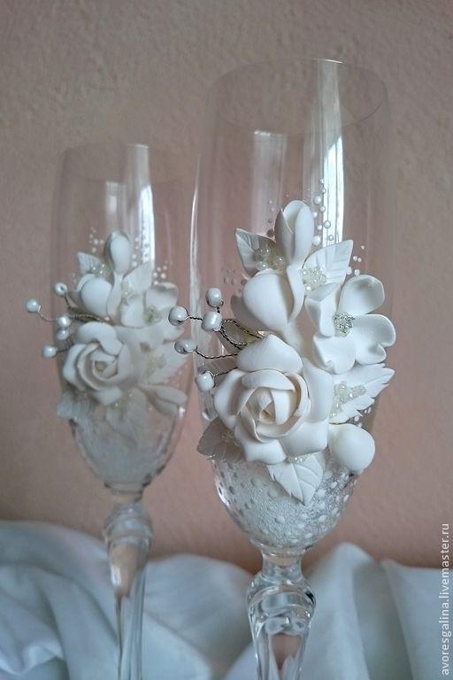 Купить Свадебные бокалы Белые - белый, свадьба, свадебные аксессуары, аксессуары для свадьбы, свадебные бокалы
