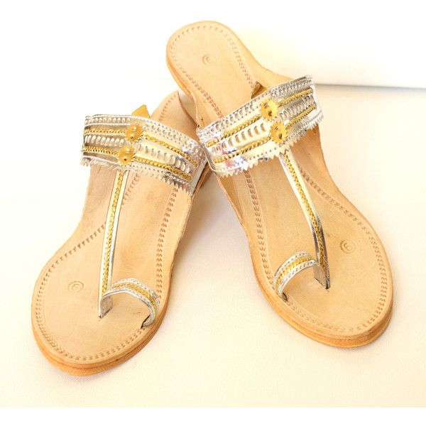 Women's Handmade Leather Sandals,silver~ Kolhapuri Chappals-Free... ($50) via Polyvore featuring shoes, sandals, flat bridal shoes, silver flat sandals, silver shoes, summer flat sandals and summer sandals