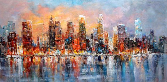 30x60 MANHATTAN BROOKLYN NYC Modern Art  001 by LuigiPaulini