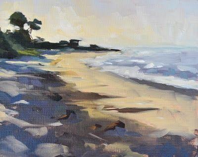 Early Morning Sun, Carpinteria Beach - 8x10, painting by artist Sharon Schock