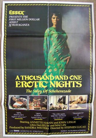 A Thousand And One Erotic Nights: 1982 with 1981 Copyright, Original theatrical one-sheet movie poster, Essex Films, Starring Annette Haven, Lisa DeLeeuw, John Leslie, Mai Lin, Jade Wong, Paul Thomas, Lysa Thatcher, and Joey Silvera. Directed by Edwin Brown (as Stephen Lucas). $150