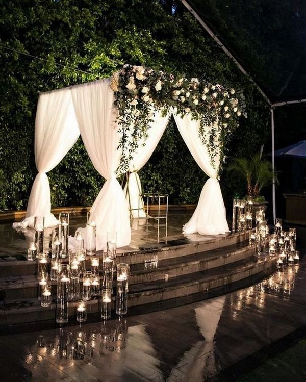 rustic country night wedding arch with lights #wedding #weddingideas #himisspuff #weddingbackdrops