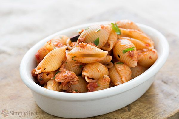 Tuna Tomato Pasta with Olives Recipe Main Dishes with pasta, salt, olive oil, shallots, garlic, red pepper flakes, tuna, anchovies, crushed tomatoes, kalamata, fresh parsley