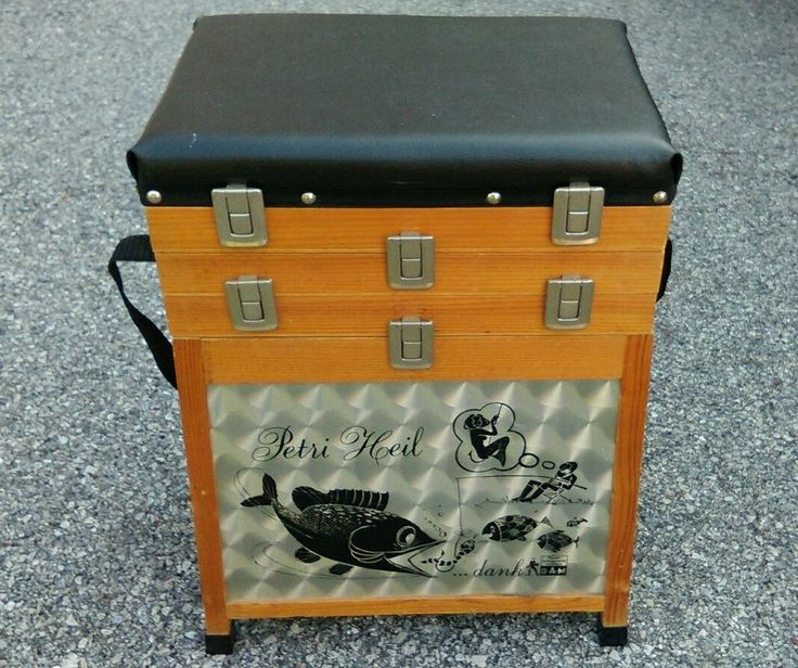 Vtg D A M Wooden Fishing Tackle Box Stool Seat Angler