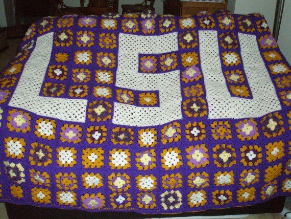 46 best lsu cross stitch images on pinterest crocheting patterns unique handmade lsu crochet afghan by megscrochetcraft on etsy 10000 fandeluxe Gallery