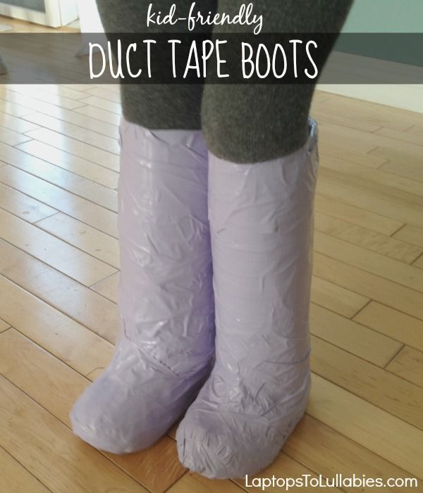 Laptops to Lullabies: Easy DIY duct tape boots {Perfect for Halloween costumes}