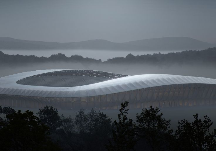 Image 2 of 6 from gallery of Zaha Hadid Architects' Competition-Winning Design for Forest Green Rovers Will Be World's First All-Wood Stadium. Exterior Rendering. Image © VA. Courtesy of Zaha Hadid Architects