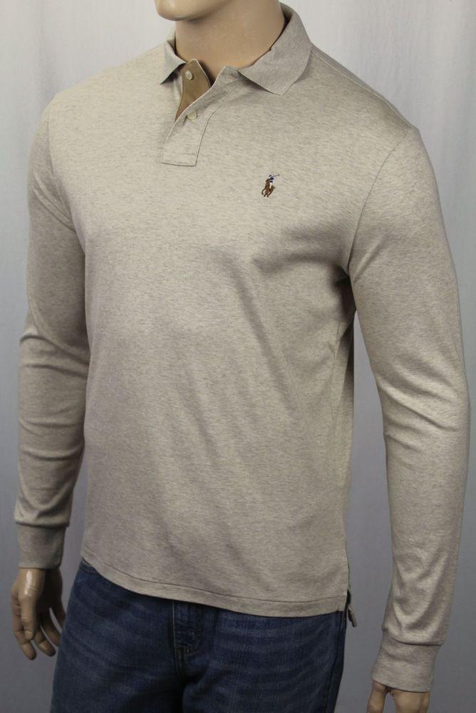 8939ce46d4 Ralph Lauren Beige Pima Soft Touch Long Sleeve Polo Shirt Classic Fit Suede  NWT