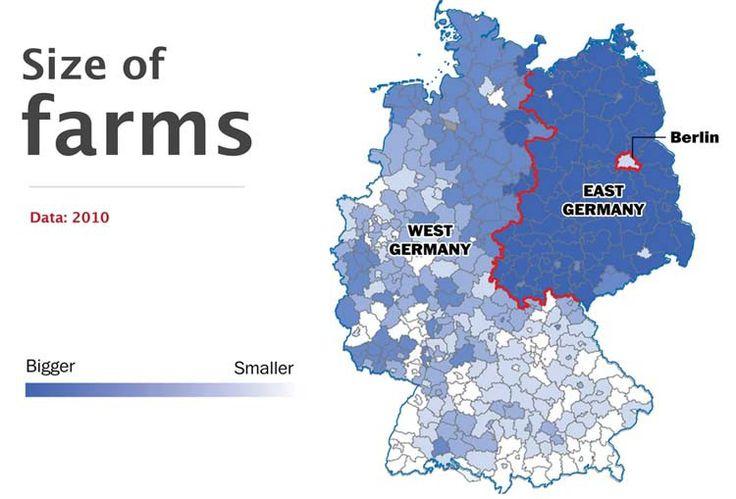 Tamaño de granjas - 10 hechos que demuestran que Alemania sigue dividida - Planificamos tu viaje