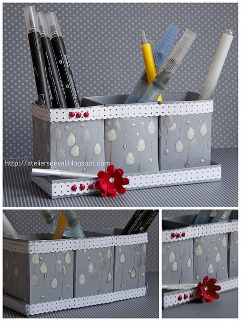 Use Kleenxe boxes to hold pens on your desk. It's  a cheap way to stay organized at your desk! #Organizationtips
