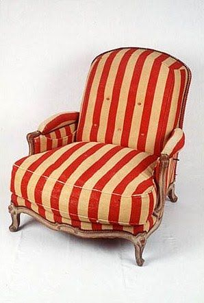 shabby vintage red striped chair~If I had room in my work room I would so have this in there! Love!