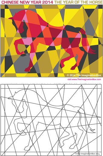 Year of the Horse / Chinese New Year Modern Art colouring activity, free PDF download