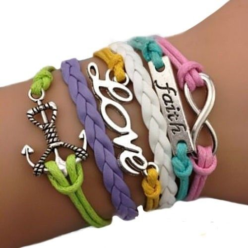 Beautiful multi-colored faith hope and love leather bracelet. via Freaks4fashion Online Store. Click on the image to see more!