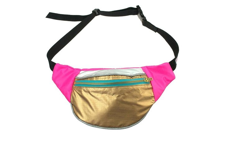 Image of WATERPROOF UNICORN bumbag fanny pack gold silver and pink reflective bag.