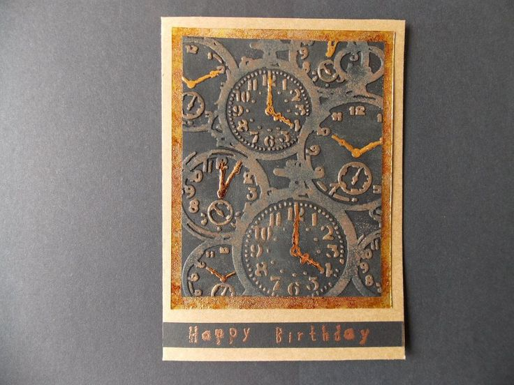 Steampunk black and copper pocket watch birthday card Hand-Made