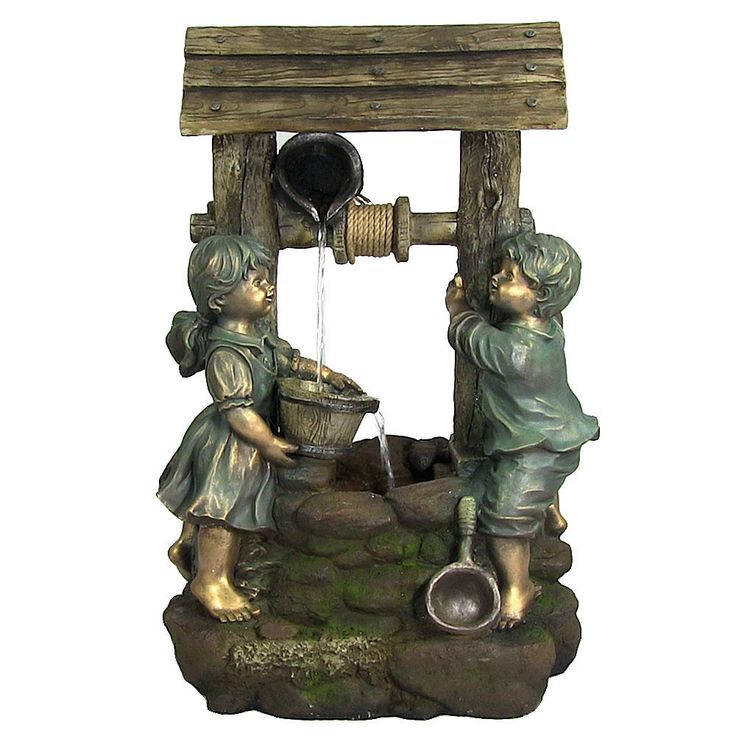 Children At The Well Outdoor Water Fountain With LED Light By Sunnydaze  Decor