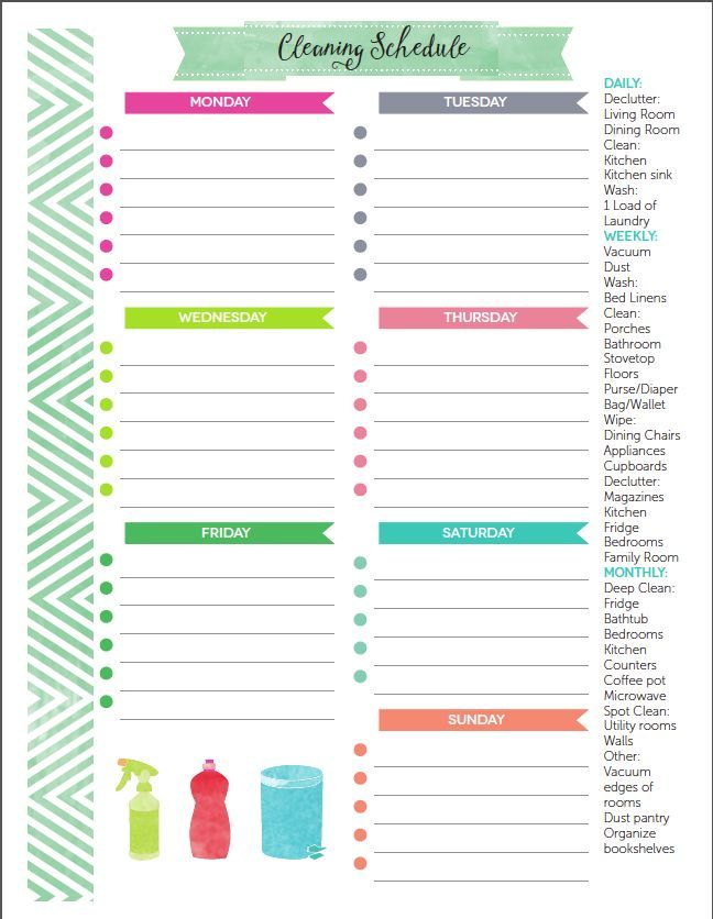 81 best Free Cleaning Printables images on Pinterest Cleaning - weekly checklist