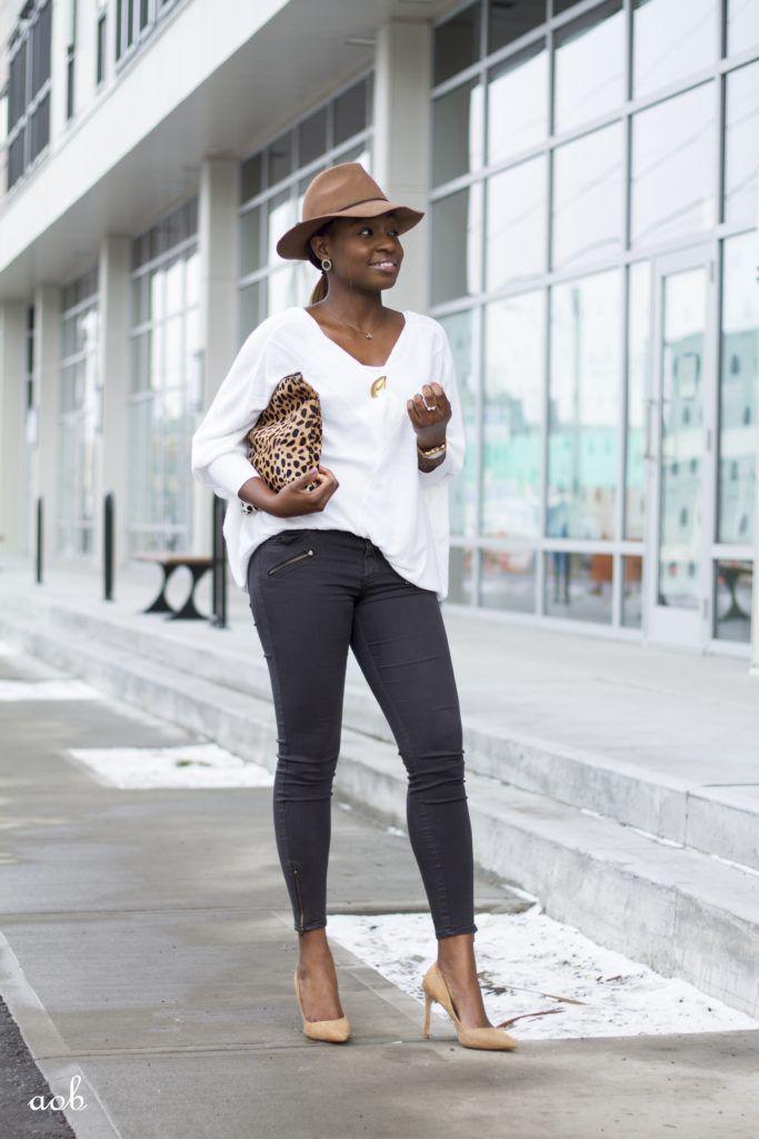 Cowl Sleeves Sweater + Leopard Clutch