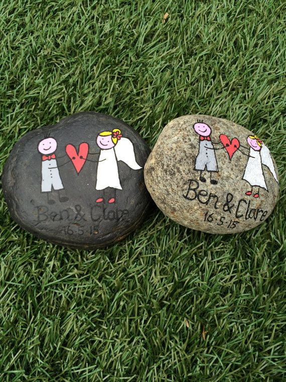 Hand Painted Beach Pebble Wedding by ThembaPebbles on Etsy
