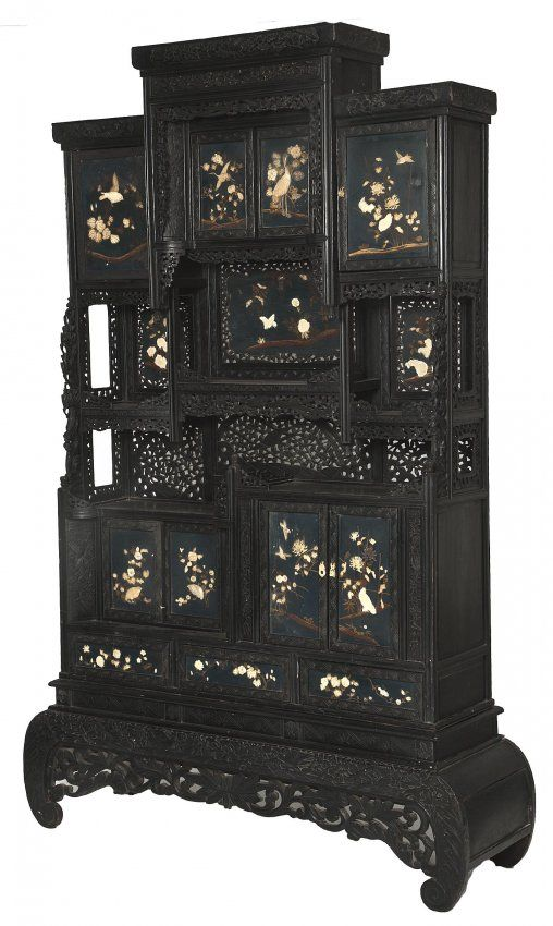 A Black Lacquered Japanese Cabinet Meiji Period Late 19th Century With Stepped Centre Above