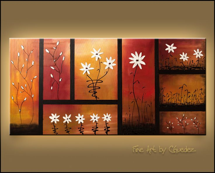 """""""Sunset Garden"""" - Flowers - Abstract Painting by Carmen Guedez www.carmenguedez.com"""