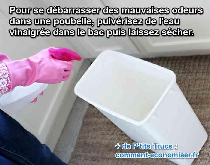 Vous cherchez une astuce pour vous débarrasser des mauvaises odeurs dans votre poubelle ?   Découvrez l'astuce ici : http://www.comment-economiser.fr/enlever-mauvaises-odeurs-poubelle.html