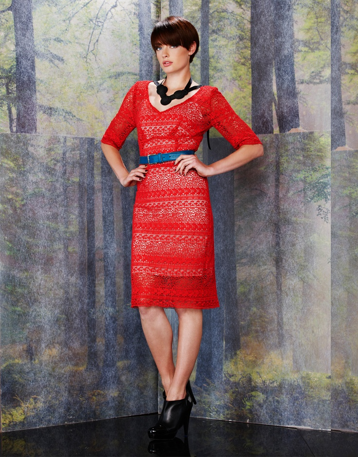 All Night Lace Dress- Red- Andrea Moore