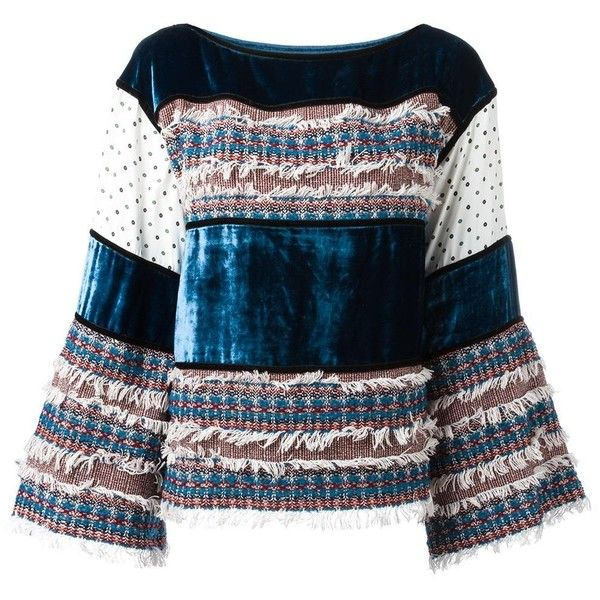 See By Chloé velvet and tweed panelled top (£270) ❤ liked on Polyvore featuring tops, blue, blue velvet top, blue top, bateau neckline tops, fringe tops and see by chloé
