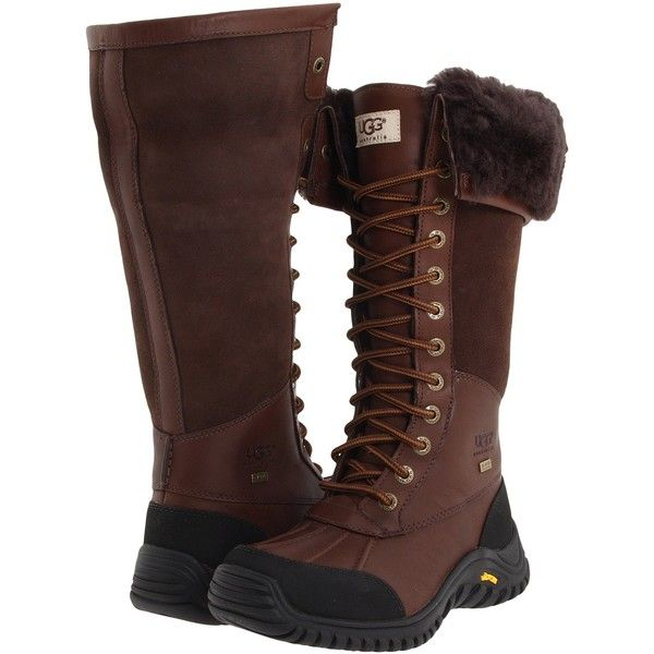 UGG Adirondack Tall Women's Cold Weather Boots ($195) ❤ liked on Polyvore featuring shoes, boots, brown, mid-calf boots, mid-calf lace up boots, waterproof boots, brown lace up boots, tall boots and pointy boots