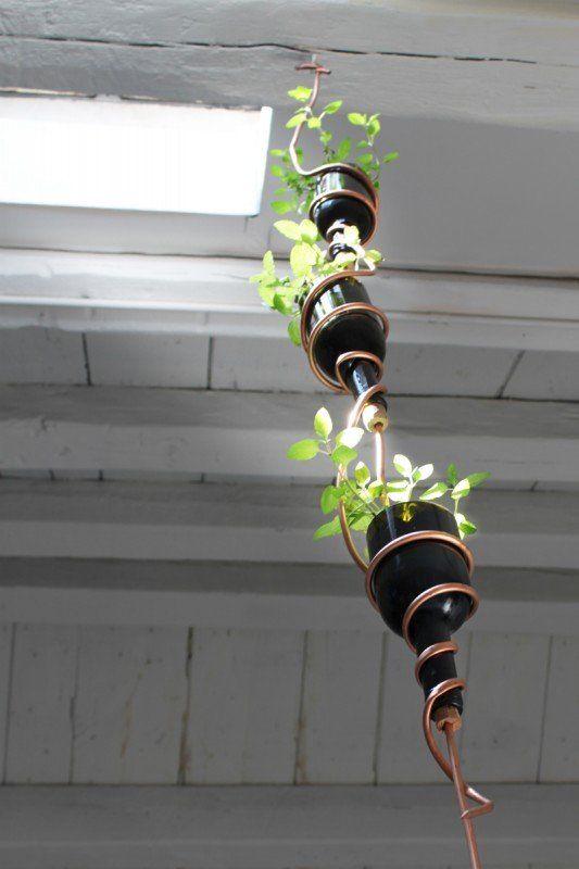 DIY: Wine bottles hanging herb garden in diy  with Wine copper