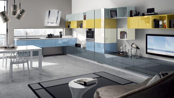 Tetris multifunkční prostor, kuchyňská linka a obývací sestava v designovém stylu / multifunctional living space (kitchen with living room)