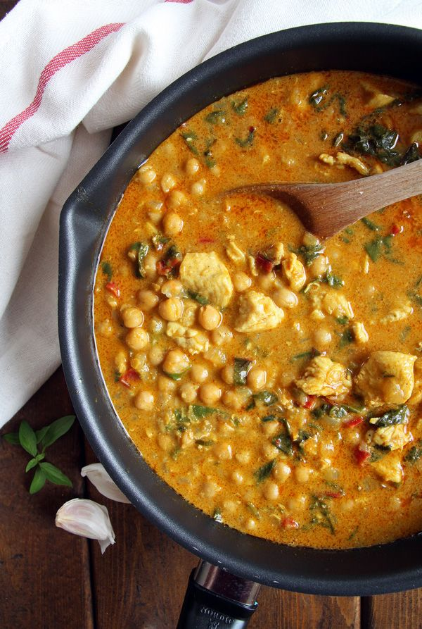 Chicken chickpea curry with swiss chard - this amazing comfort food is great served with steamed rice.