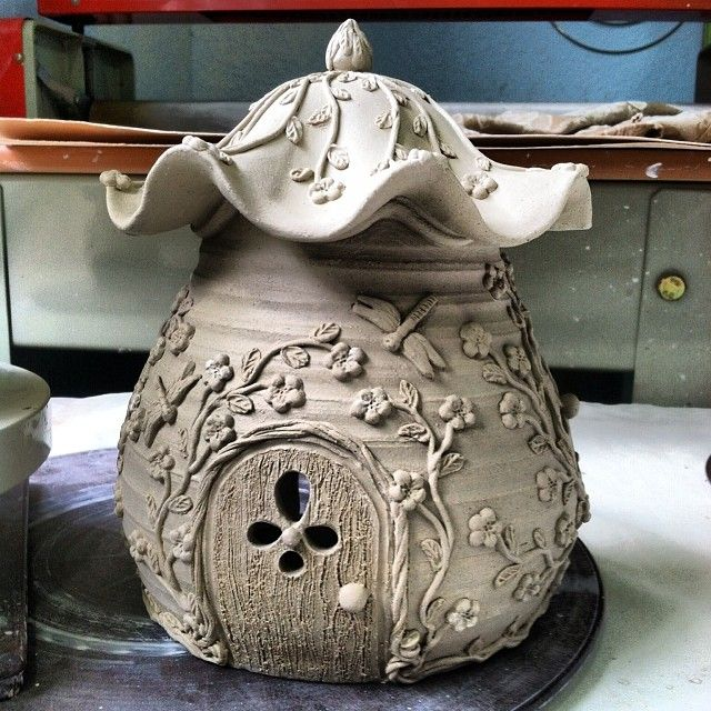 Ceramic Fairy House #fairy #flower #fairies #fairyhouse #ceramicpottery…