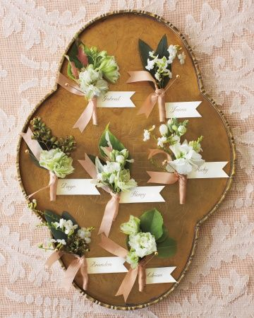 Rustic, natural buttonholes - like that they don't necessarily match but all co-ordinate with one another