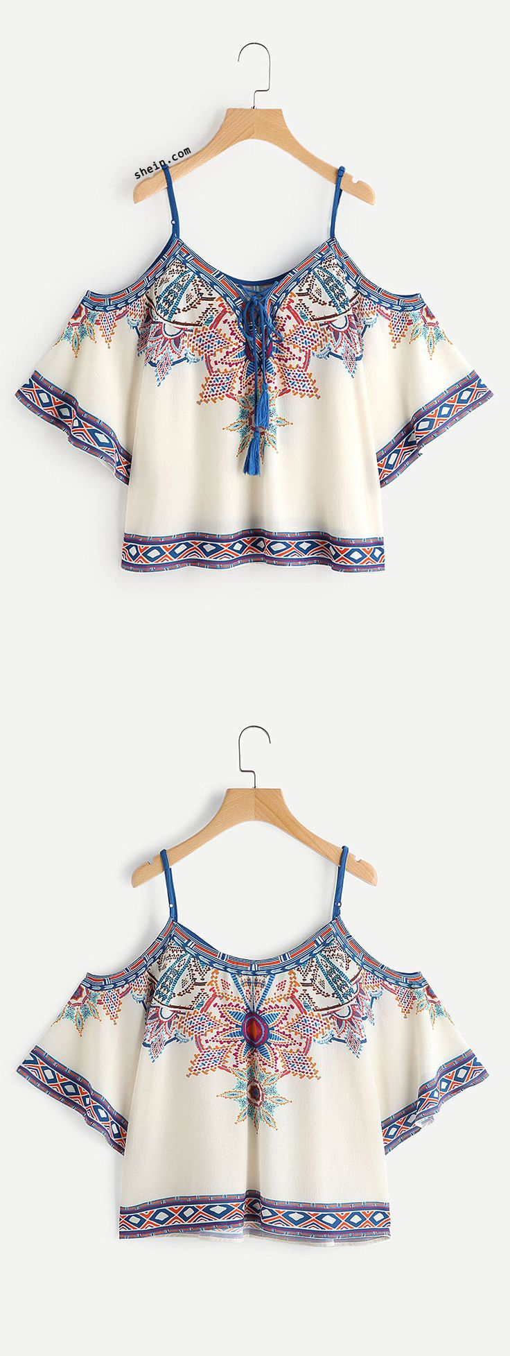 Open Shoulder Aztec Print Lace Up Top